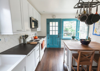 kitchen with blue door